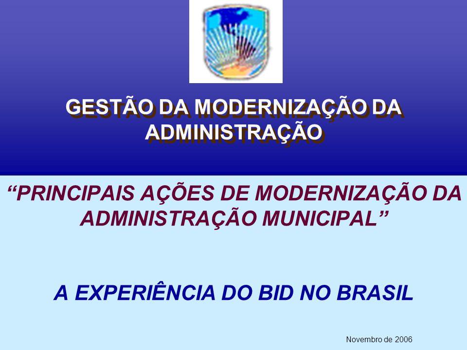 GESTÃO DA MODERNIZAÇÃO DA ADMINISTRAÇÃO Novembro de 2006 PRINCIPAIS AÇÕES DE MODERNIZAÇÃO DA ADMINISTRAÇÃO MUNICIPAL A EXPERIÊNCIA DO BID NO BRASIL