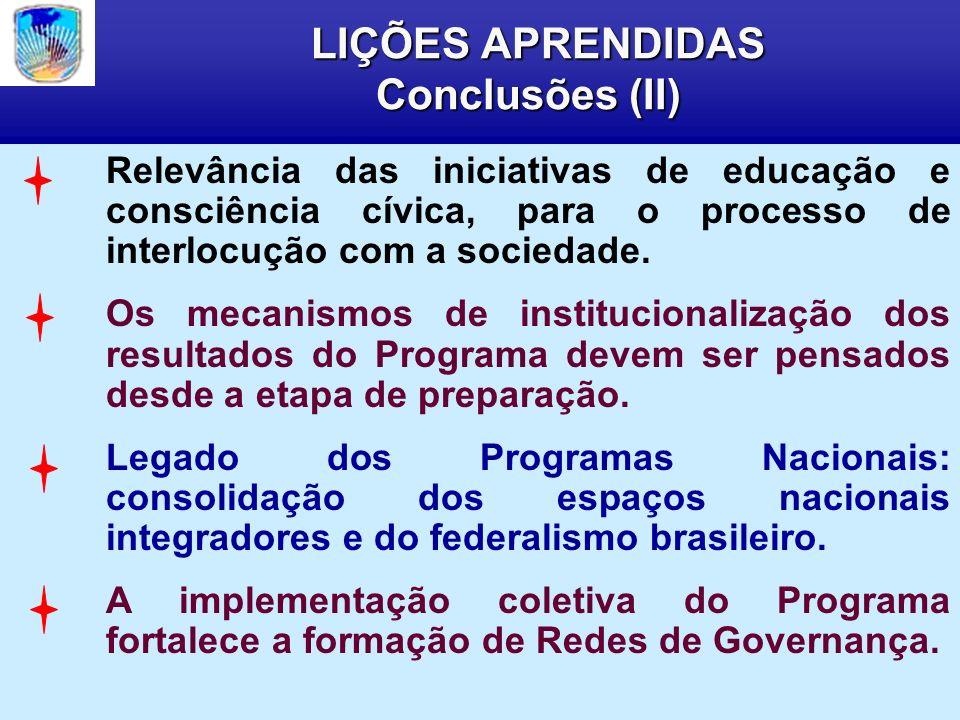 LIÇÕES APRENDIDAS Conclusões (II) LIÇÕES APRENDIDAS Conclusões (II) Relevância das iniciativas de educação e consciência cívica, para o processo de interlocução com a sociedade.
