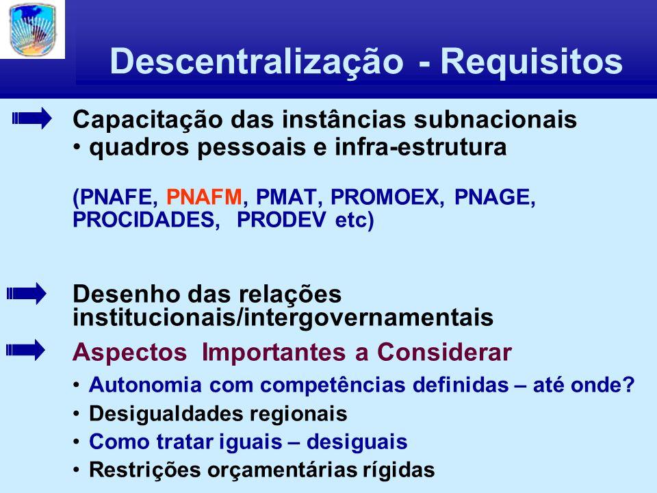 Descentralização - Requisitos Capacitação das instâncias subnacionais quadros pessoais e infra-estrutura (PNAFE, PNAFM, PMAT, PROMOEX, PNAGE, PROCIDADES, PRODEV etc) Desenho das relações institucionais/intergovernamentais Aspectos Importantes a Considerar Autonomia com competências definidas – até onde.