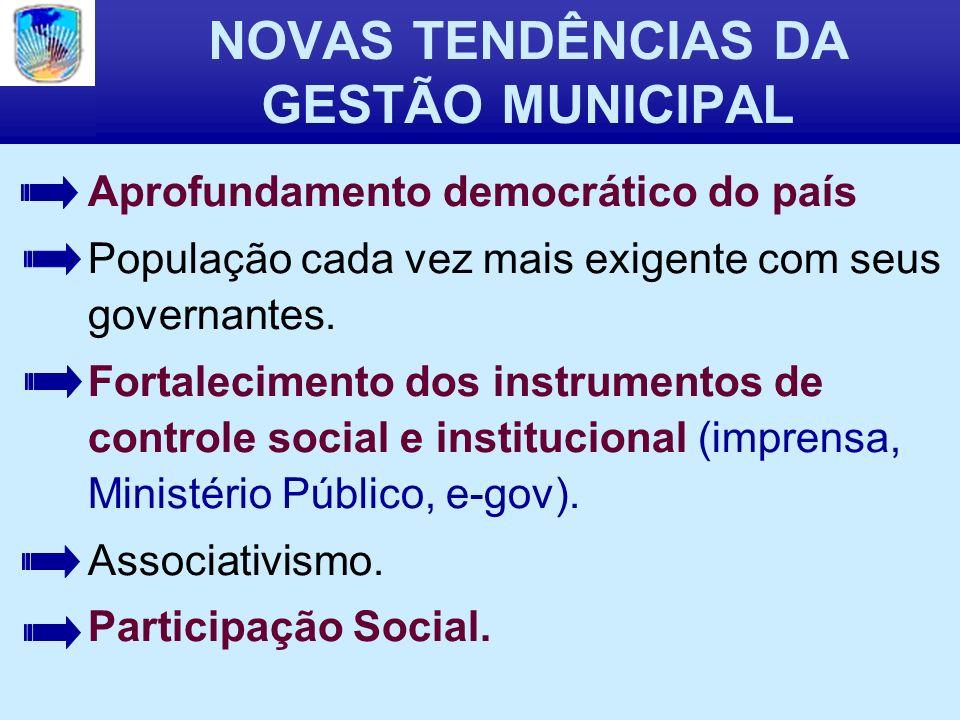 NOVAS TENDÊNCIAS DA GESTÃO MUNICIPAL Aprofundamento democrático do país População cada vez mais exigente com seus governantes.