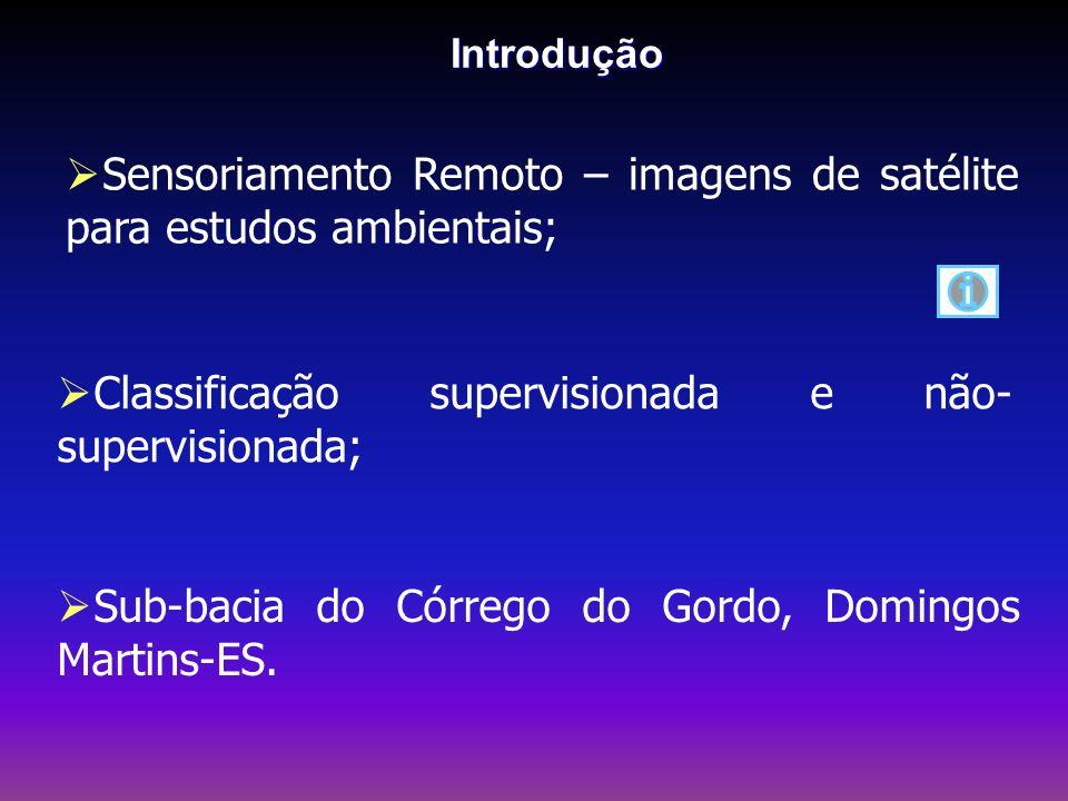 Objetivo Realizar a classificação supervisionada e não- supervisionada da sub-bacia do Córrego do Gordo, Domingos Martins-ES, comparando as metodologias utilizadas.