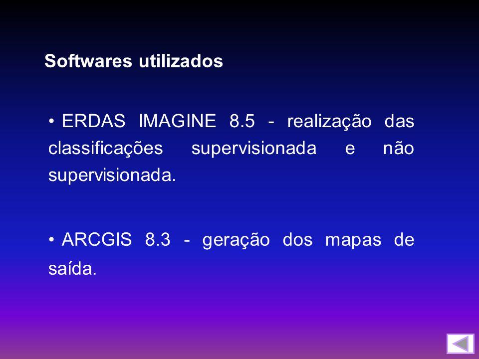 ERDAS IMAGINE 8.5 - realização das classificações supervisionada e não supervisionada. Softwares utilizados ARCGIS 8.3 - geração dos mapas de saída.