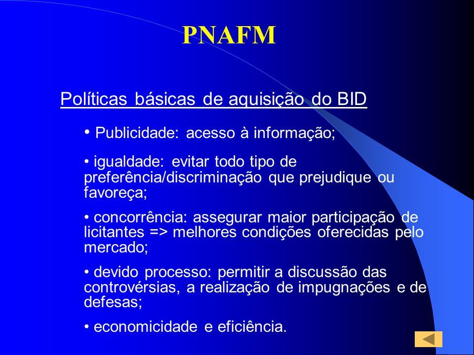 PNAFM Políticas básicas de aquisição do BID Publicidade: acesso à informação; igualdade: evitar todo tipo de preferência/discriminação que prejudique