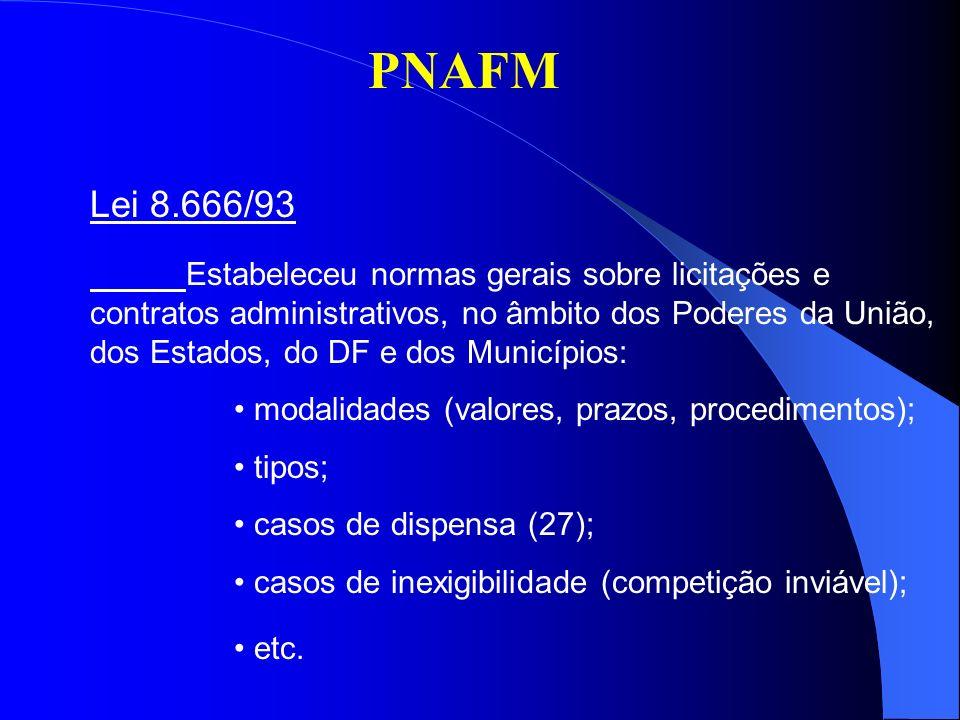 PNAFM Lei 10.520/02 Instituiu o pregão: nova modalidade de licitação; aquisição de bens e serviços comuns; prazos específicos; critério de classificação - menor preço; habilitação jurídico-fiscal posterior; negociação de preço permitida.