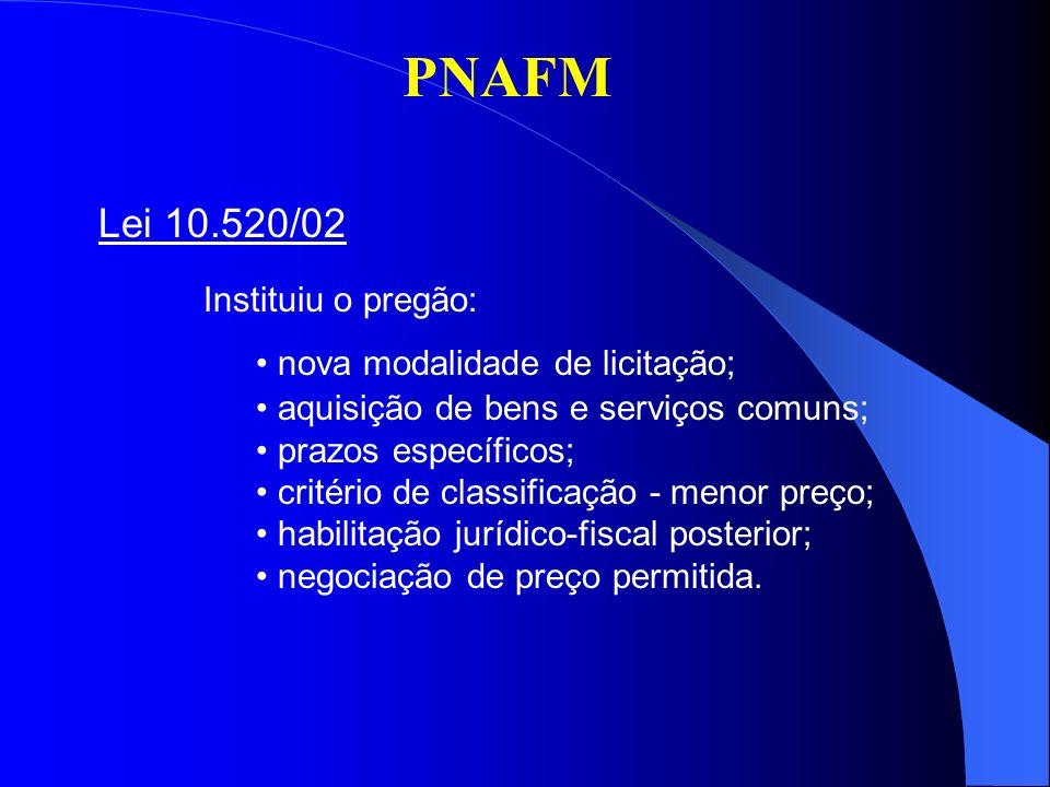PNAFM Lei 10.520/02 Instituiu o pregão: nova modalidade de licitação; aquisição de bens e serviços comuns; prazos específicos; critério de classificaç