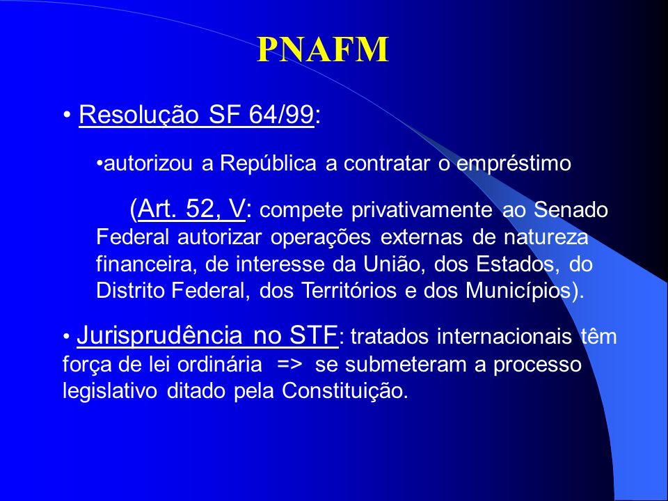 PNAFM Resolução SF 64/99: autorizou a República a contratar o empréstimo (Art. 52, V: compete privativamente ao Senado Federal autorizar operações ext
