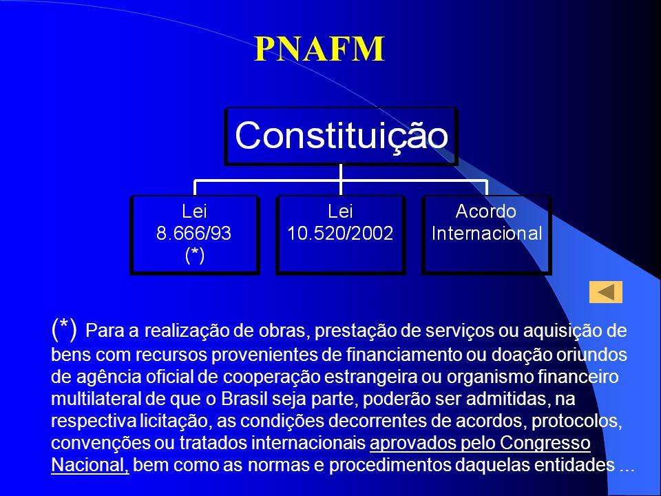 PNAFM (*) Para a realização de obras, prestação de serviços ou aquisição de bens com recursos provenientes de financiamento ou doação oriundos de agên