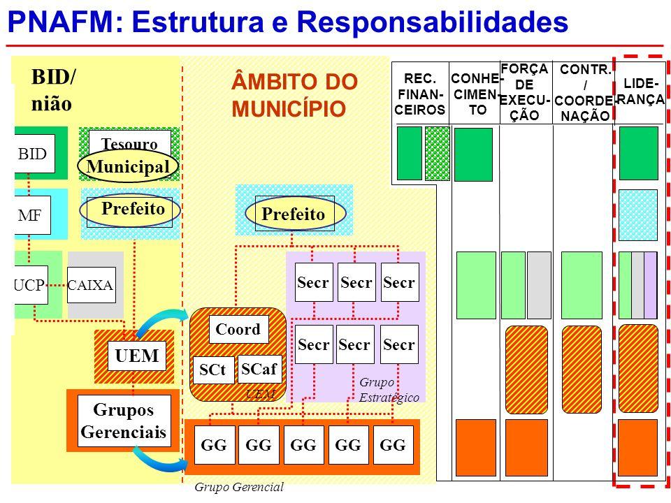 ÂMBITO DO MUNICÍPIO PNAFM: Estrutura e Responsabilidades LIDE- RANÇA CONTR.