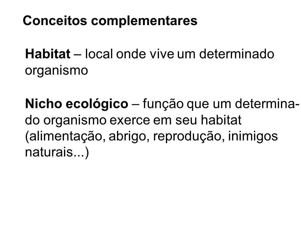 Conceitos complementares Habitat – local onde vive um determinado organismo Nicho ecológico – função que um determina- do organismo exerce em seu habi