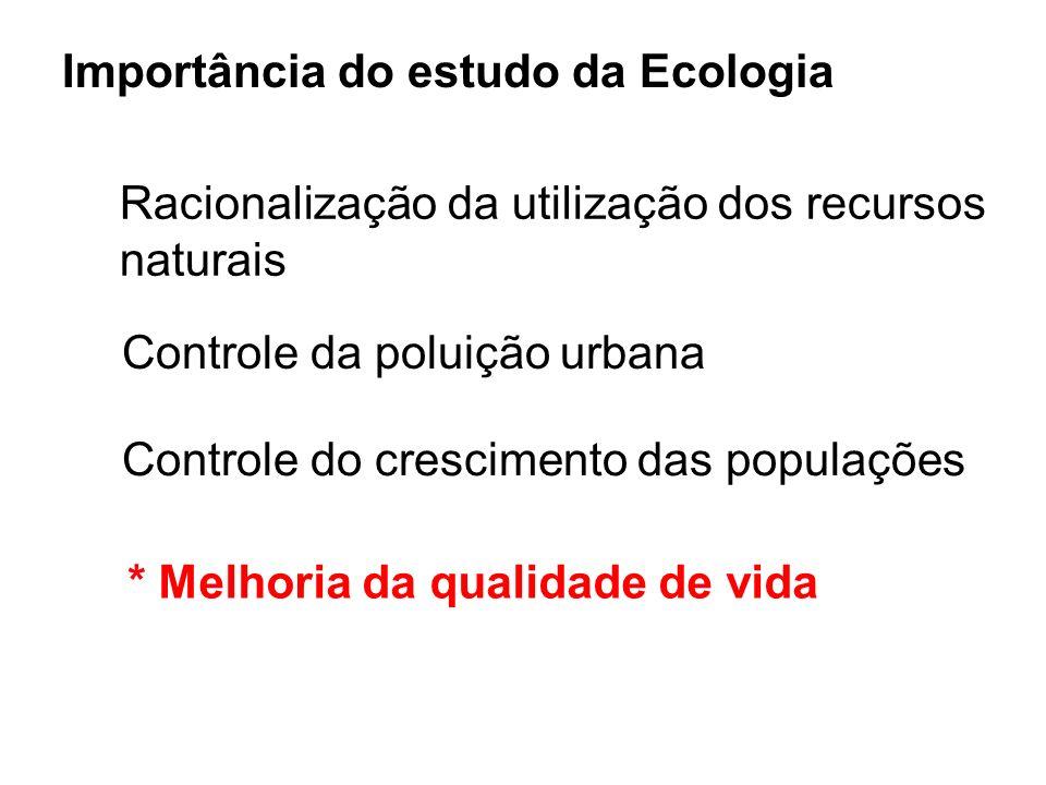 Importância do estudo da Ecologia Racionalização da utilização dos recursos naturais Controle da poluição urbana Controle do crescimento das populaçõe