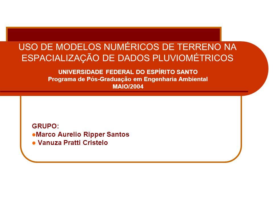 USO DE MODELOS NUMÉRICOS DE TERRENO NA ESPACIALIZAÇÃO DE DADOS PLUVIOMÉTRICOS Referência Bibliográfica ASSAD, E.