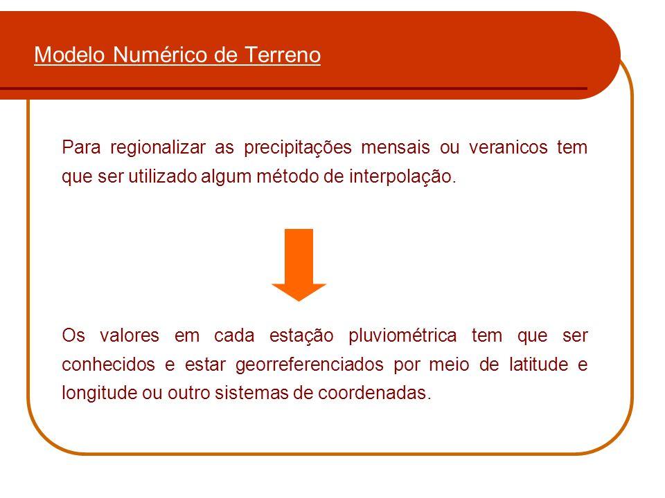 Modelo Numérico de Terreno Para regionalizar as precipitações mensais ou veranicos tem que ser utilizado algum método de interpolação. Os valores em c