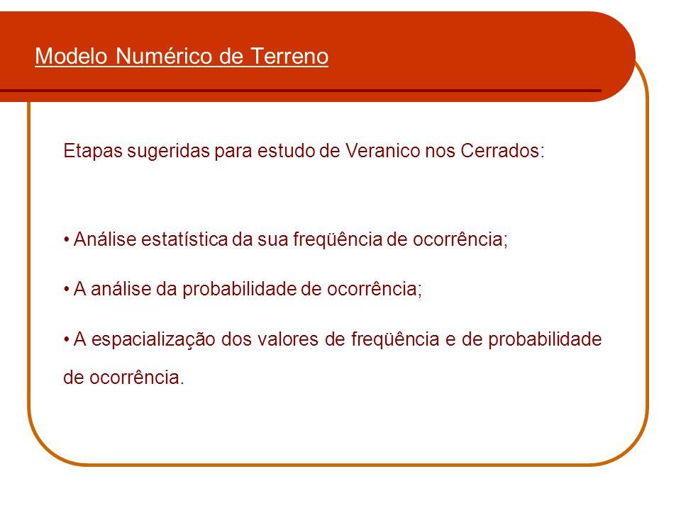 Modelo Numérico de Terreno Etapas sugeridas para estudo de Veranico nos Cerrados: Análise estatística da sua freqüência de ocorrência; A análise da pr