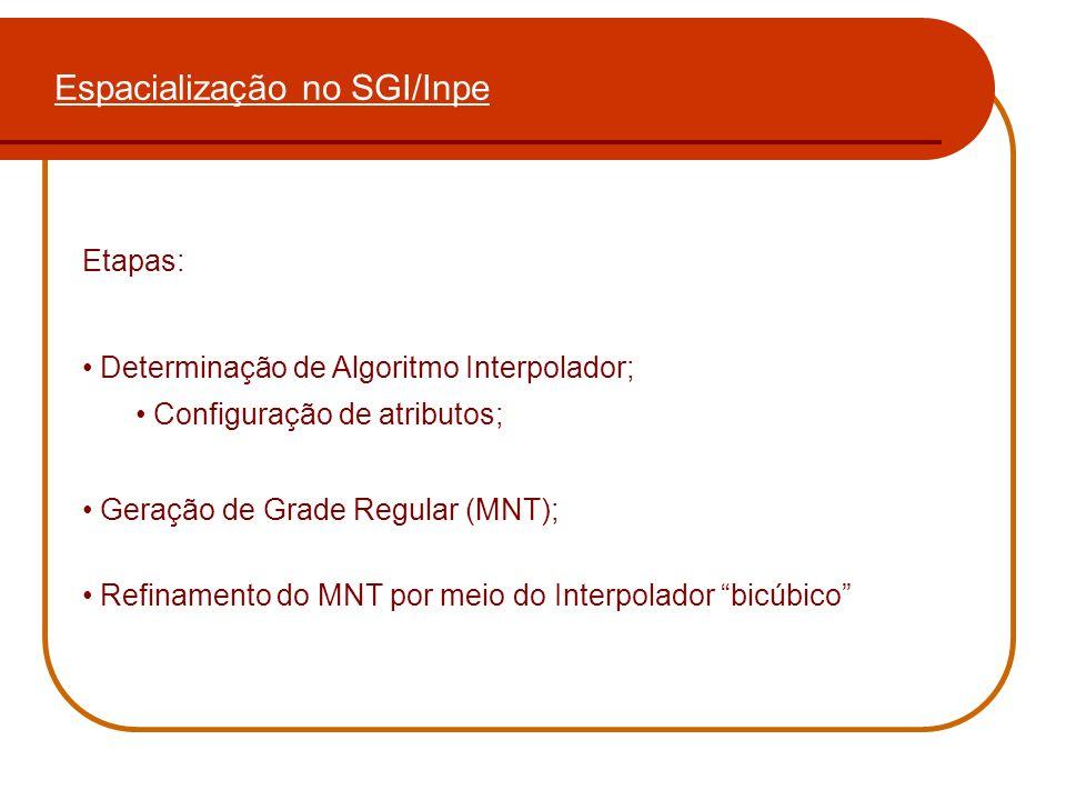 Espacialização no SGI/Inpe Etapas: Determinação de Algoritmo Interpolador; Configuração de atributos; Geração de Grade Regular (MNT); Refinamento do M