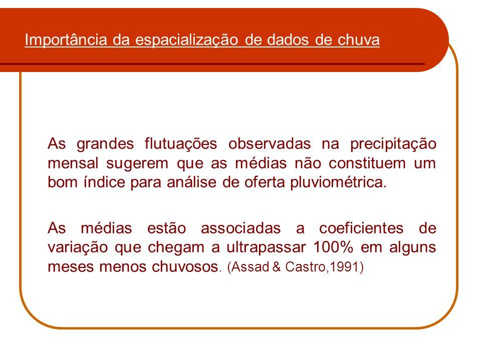 Importância da espacialização de dados de chuva Caracterização: Região dos Cerrados Brasileiros; Estação seca (maio-setembro); Total anual de chuvas - 1.500 mm; Deficiência hídrica – Fator limitante da agricultura.