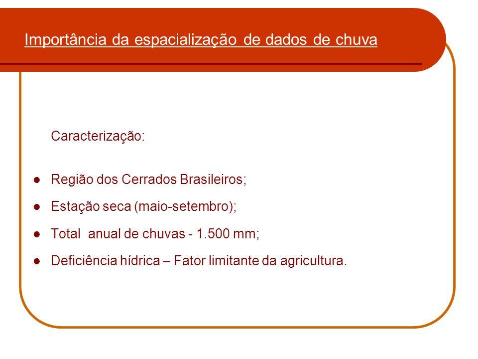 Importância da espacialização de dados de chuva Caracterização: Região dos Cerrados Brasileiros; Estação seca (maio-setembro); Total anual de chuvas -