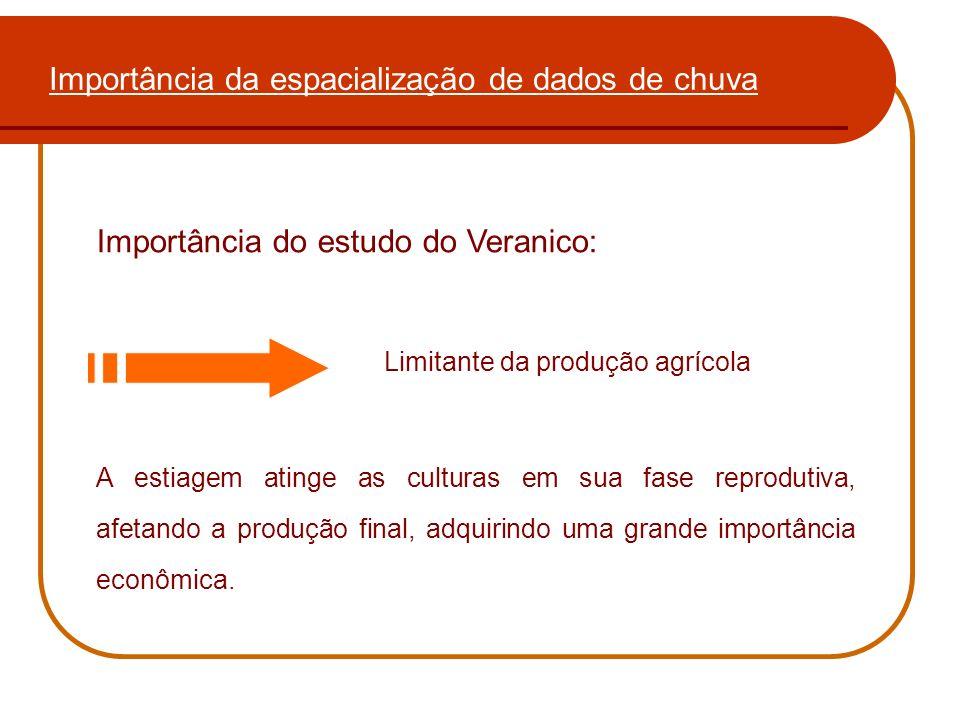 Importância da espacialização de dados de chuva Importância do estudo do Veranico: Limitante da produção agrícola A estiagem atinge as culturas em sua