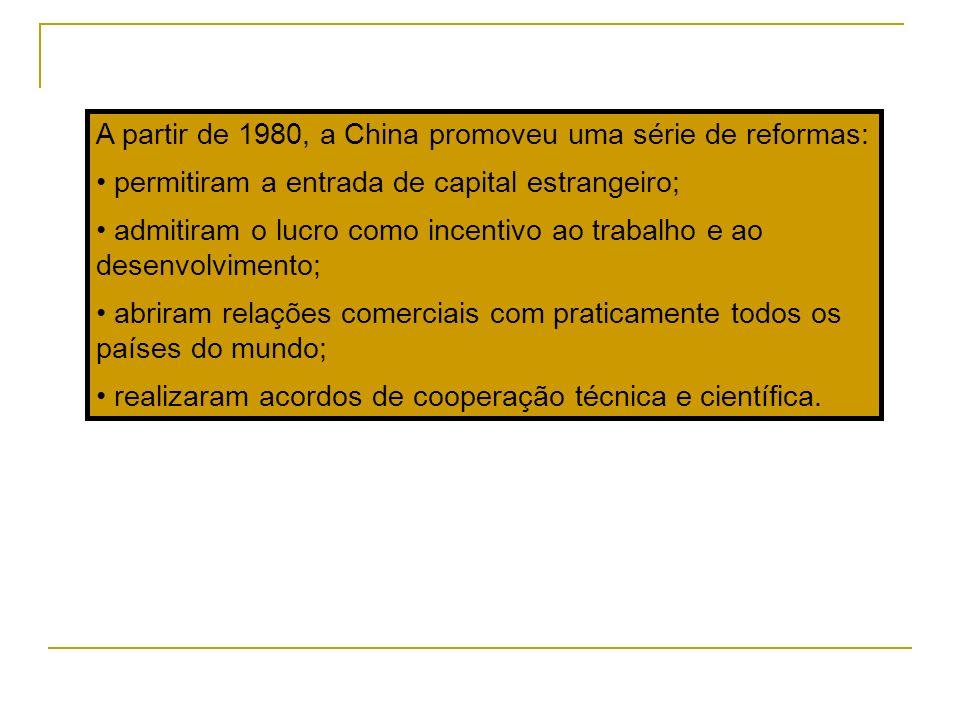 A partir de 1980, a China promoveu uma série de reformas: permitiram a entrada de capital estrangeiro; admitiram o lucro como incentivo ao trabalho e