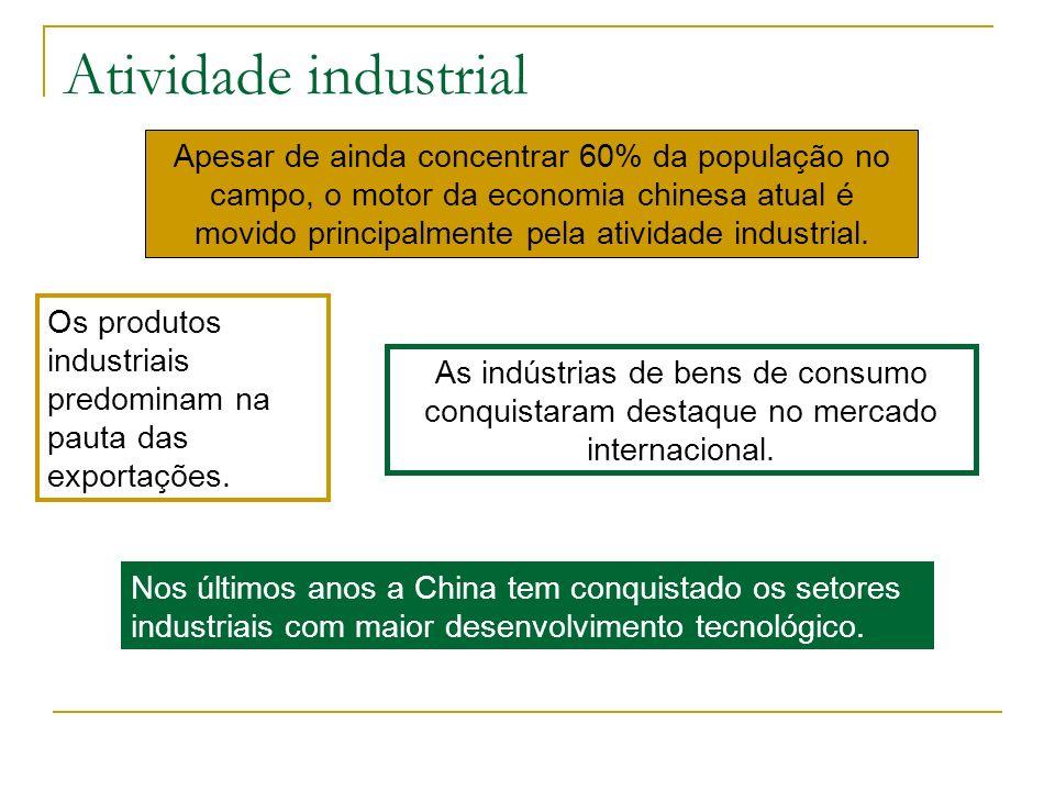 Atividade industrial Apesar de ainda concentrar 60% da população no campo, o motor da economia chinesa atual é movido principalmente pela atividade in