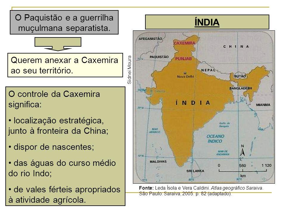 Querem anexar a Caxemira ao seu território. ÍNDIA Sidnei Moura Fonte: Leda Ísola e Vera Caldini. Atlas geográfico Saraiva. São Paulo: Saraiva, 2005. p