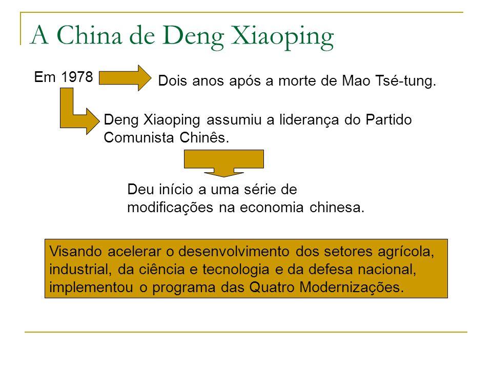 A partir de 1980, a China promoveu uma série de reformas: permitiram a entrada de capital estrangeiro; admitiram o lucro como incentivo ao trabalho e ao desenvolvimento; abriram relações comerciais com praticamente todos os países do mundo; realizaram acordos de cooperação técnica e científica.