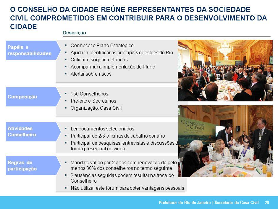 Prefeitura do Rio de Janeiro | Secretaria da Casa Civil28 A PARTICIPAÇÃO E A REPRESENTATIVIDADE FORAM AMPLAMENTE GARANTIDAS PELO ENVOLVIMENTO DE DIVER