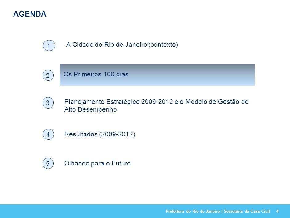 Prefeitura do Rio de Janeiro | Secretaria da Casa Civil AGENDA 4 A Cidade do Rio de Janeiro (contexto) 1 Resultados (2009-2012) 4 Os Primeiros 100 dias 2 Planejamento Estratégico 2009-2012 e o Modelo de Gestão de Alto Desempenho 3 Olhando para o Futuro 5