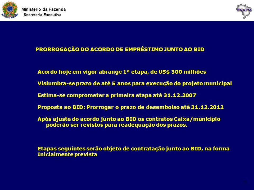 Ministério da Fazenda Secretaria Executiva 12 PRORROGAÇÃO DO ACORDO DE EMPRÉSTIMO JUNTO AO BID Acordo hoje em vigor abrange 1ª etapa, de US$ 300 milhõ