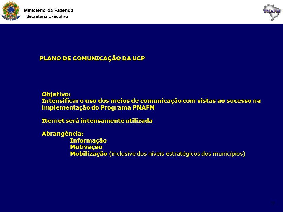Ministério da Fazenda Secretaria Executiva 13 PLANO DE COMUNICAÇÃO DA UCP Objetivo: Intensificar o uso dos meios de comunicação com vistas ao sucesso