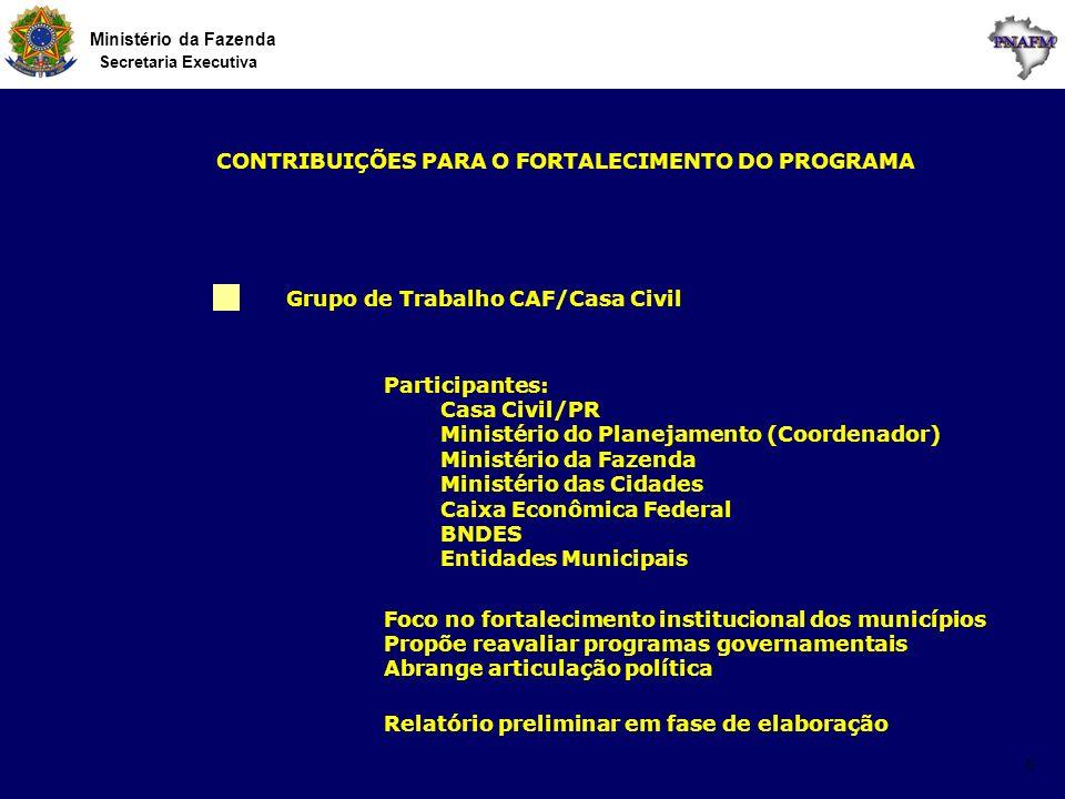 Ministério da Fazenda Secretaria Executiva 5 Grupo de Trabalho CAF/Casa Civil Foco no fortalecimento institucional dos municípios Propõe reavaliar pro