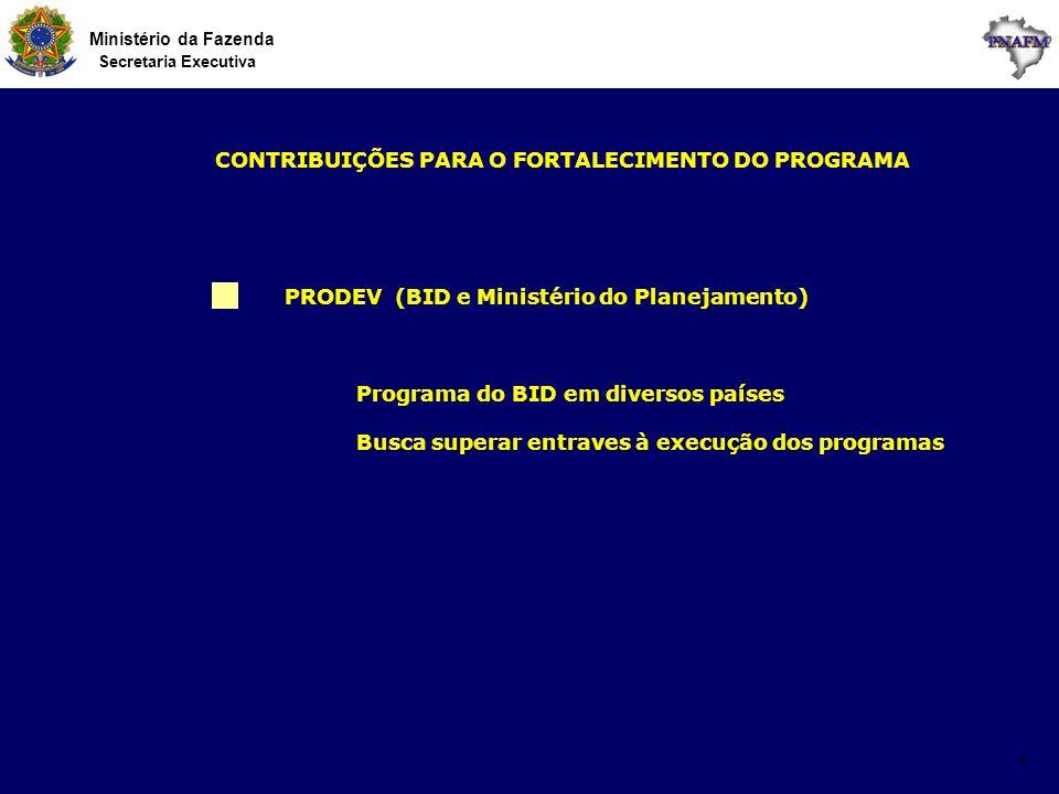 Ministério da Fazenda Secretaria Executiva 6 PRODEV (BID e Ministério do Planejamento) CONTRIBUIÇÕES PARA O FORTALECIMENTO DO PROGRAMA Programa do BID