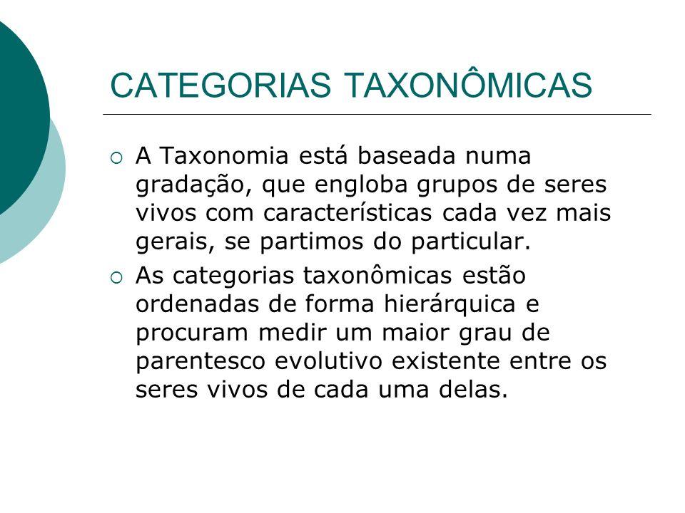 CATEGORIAS TAXONÔMICAS A Taxonomia está baseada numa gradação, que engloba grupos de seres vivos com características cada vez mais gerais, se partimos