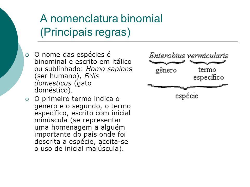 A nomenclatura binomial (Principais regras) O nome das espécies é binominal e escrito em itálico ou sublinhado: Homo sapiens (ser humano), Felis domes