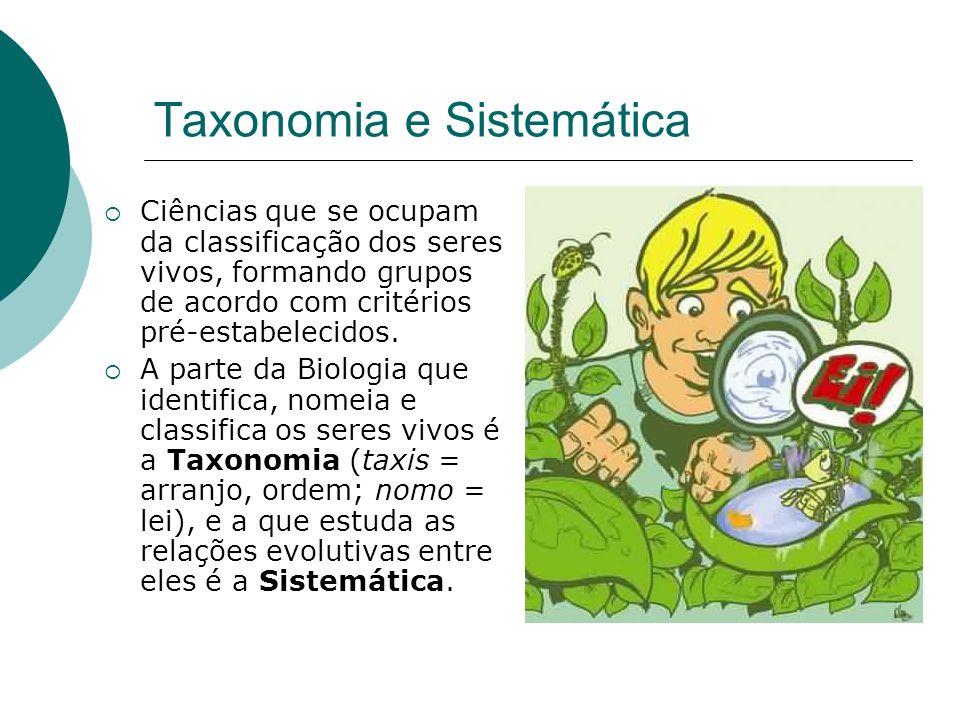 Taxonomia e Sistemática Ciências que se ocupam da classificação dos seres vivos, formando grupos de acordo com critérios pré-estabelecidos. A parte da