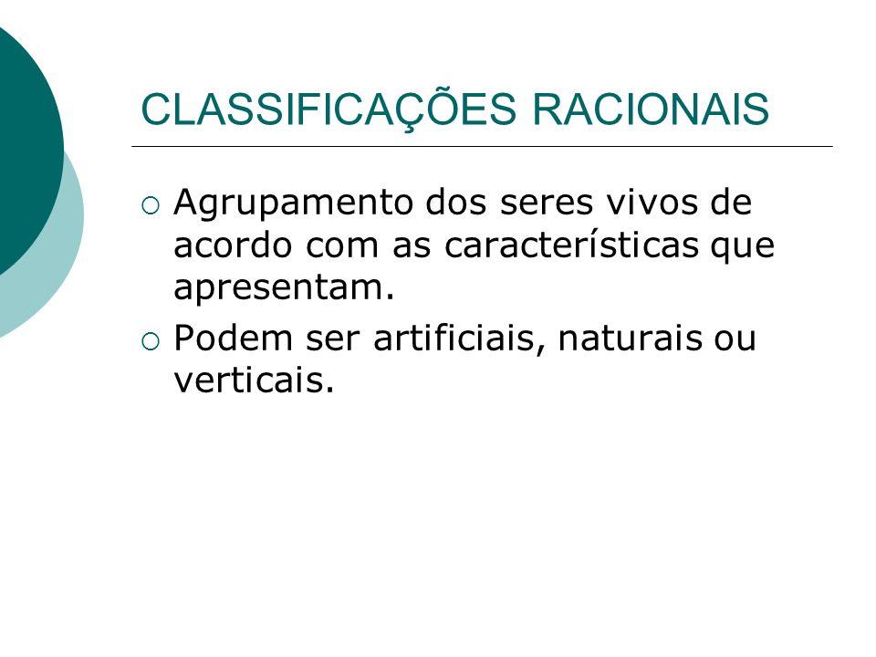 CLASSIFICAÇÕES RACIONAIS Agrupamento dos seres vivos de acordo com as características que apresentam. Podem ser artificiais, naturais ou verticais.