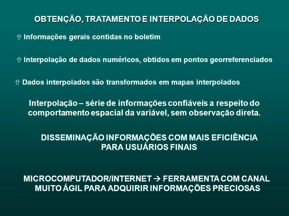 OBTENÇÃO, TRATAMENTO E INTERPOLAÇÃO DE DADOS OBTENÇÃO, TRATAMENTO E INTERPOLAÇÃO DE DADOS ñ Informações gerais contidas no boletim ñ Interpolação de d