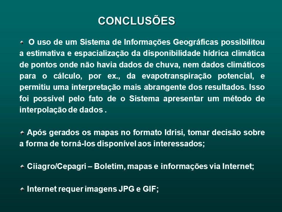 CONCLUSÕES O uso de um Sistema de Informações Geográficas possibilitou a estimativa e espacialização da disponibilidade hídrica climática de pontos on