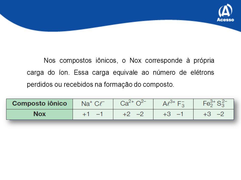 Nos compostos iônicos, o Nox corresponde à própria carga do íon.