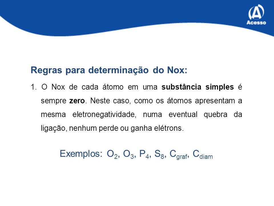 Regras para determinação do Nox: 1.O Nox de cada átomo em uma substância simples é sempre zero.