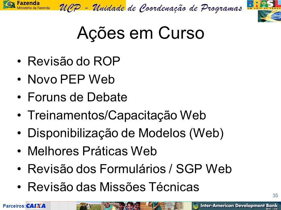 Parceiros: Ações em Curso Revisão do ROP Novo PEP Web Foruns de Debate Treinamentos/Capacitação Web Disponibilização de Modelos (Web) Melhores Práticas Web Revisão dos Formulários / SGP Web Revisão das Missões Técnicas 35