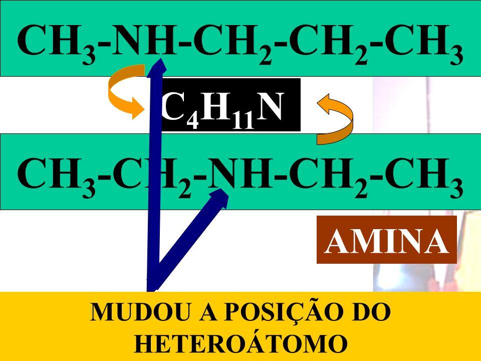 Prof. Sidnei CH 3 -NH-CH 2 -CH 2 -CH 3 C 4 H 11 N CH 3 -CH 2 -NH-CH 2 -CH 3 MUDOU A POSIÇÃO DO HETEROÁTOMO AMINA