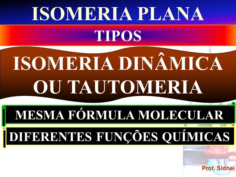 Prof. Sidnei ISOMERIA PLANA TIPOS ISOMERIA DINÂMICA OU TAUTOMERIA MESMA FÓRMULA MOLECULAR DIFERENTES FUNÇÕES QUÍMICAS