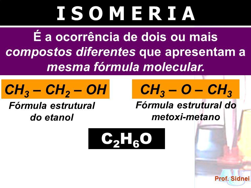 I S O M E R I A É a ocorrência de dois ou mais compostos diferentes que apresentam a mesma fórmula molecular. CH 3 – CH 2 – OH Fórmula estrutural do e