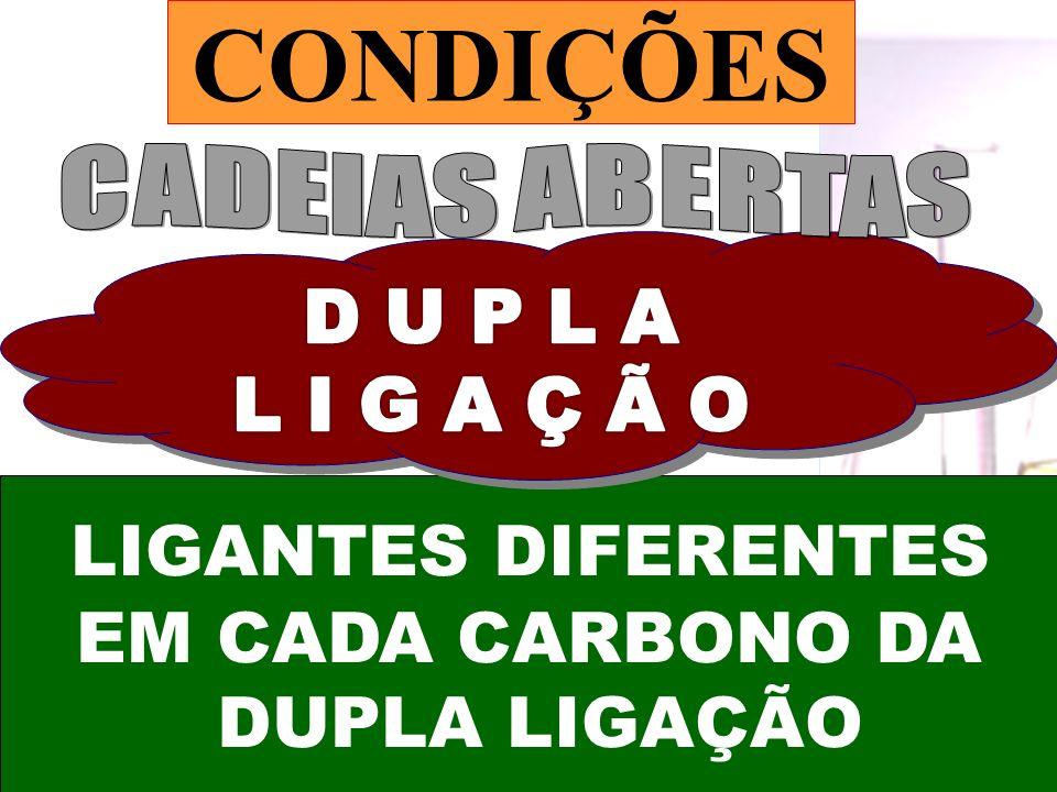CONDIÇÕES LIGANTES DIFERENTES EM CADA CARBONO DA DUPLA LIGAÇÃO