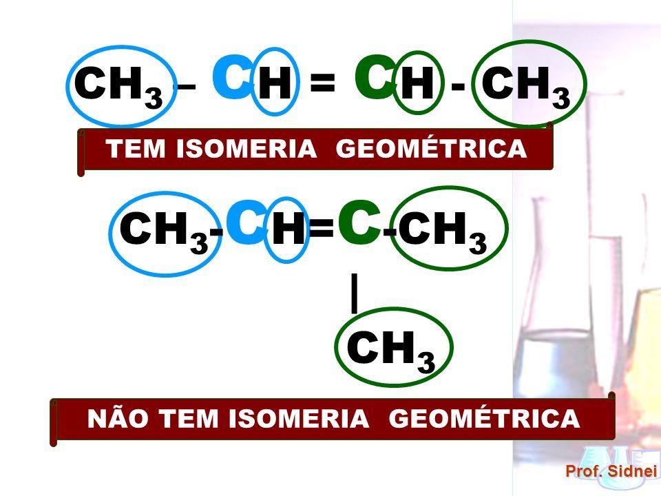 Prof. Sidnei CH 3 – C H = C H - CH 3 TEM ISOMERIA GEOMÉTRICA NÃO TEM ISOMERIA GEOMÉTRICA CH 3 - C H= C -CH 3   CH 3