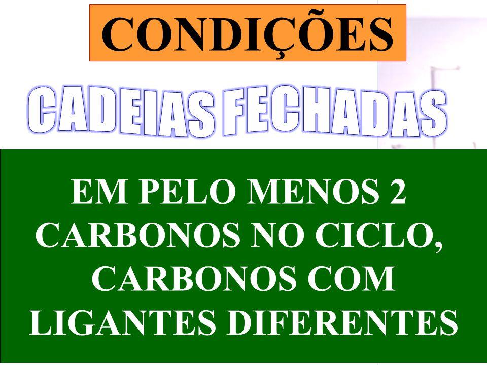 Prof. Sidnei EM PELO MENOS 2 CARBONOS NO CICLO, CARBONOS COM LIGANTES DIFERENTES CONDIÇÕES