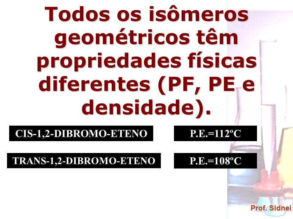 Prof. Sidnei Todos os isômeros geométricos têm propriedades físicas diferentes (PF, PE e densidade). CIS-1,2-DIBROMO-ETENO TRANS-1,2-DIBROMO-ETENO P.E
