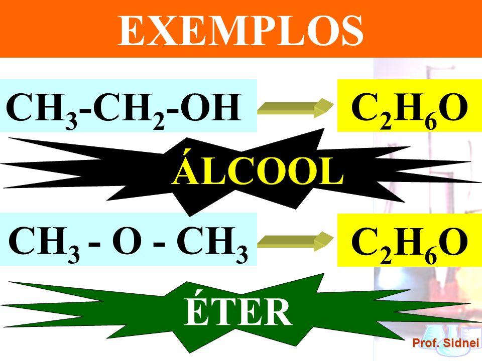 Prof. Sidnei EXEMPLOS CH 3 -CH 2 -OH C 2 H 6 O CH 3 - O - CH 3 C 2 H 6 O ÁLCOOL ÉTER