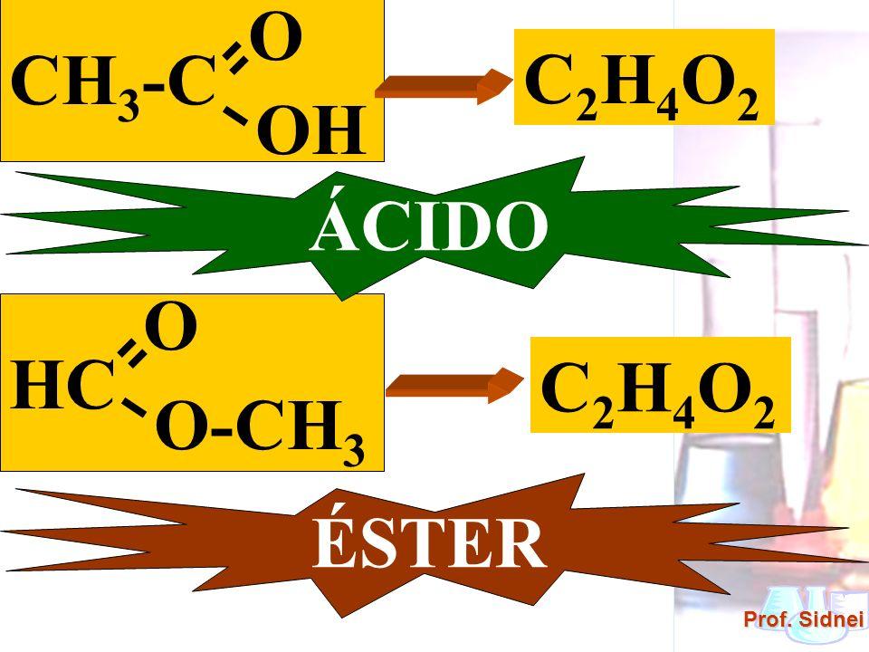 Prof. Sidnei CH 3 -C O OH HC O O-CH 3 C 2 H 4 O 2 C 2 H 4 O 2 ÁCIDO ÉSTER