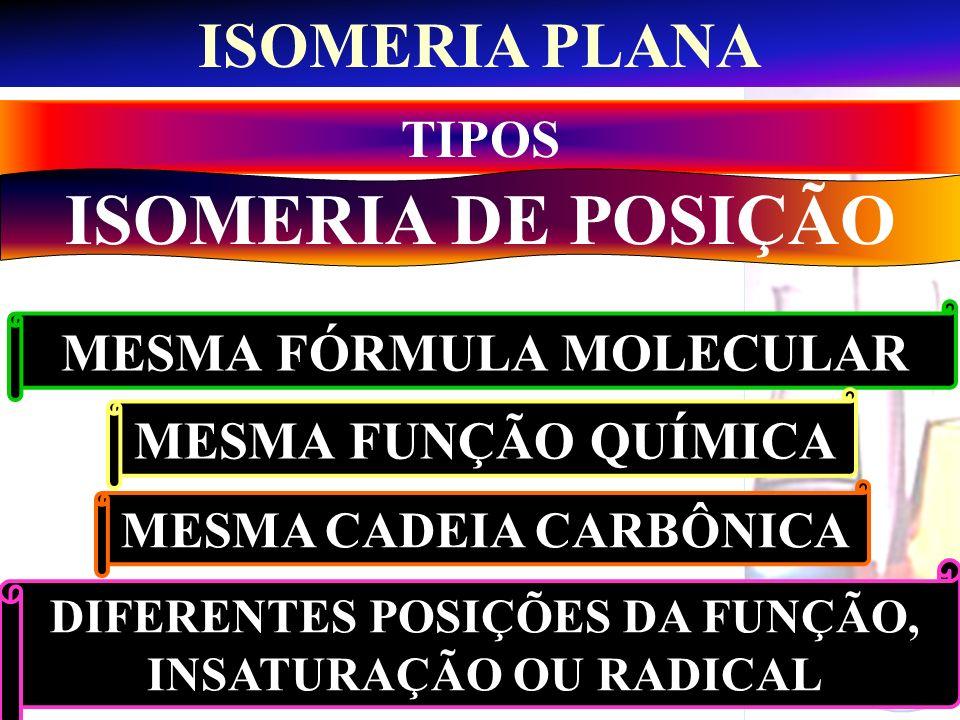 Prof. Sidnei ISOMERIA PLANA TIPOS ISOMERIA DE POSIÇÃO MESMA FÓRMULA MOLECULAR MESMA FUNÇÃO QUÍMICA MESMA CADEIA CARBÔNICA DIFERENTES POSIÇÕES DA FUNÇÃ